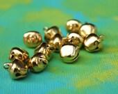 Gold Jingle Bells - Gypsy Bells Set of 24 large 10mm Brass Bells