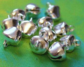 24 Lg Silver Gypsy Bells - large 10mm Brass Jingle Bells