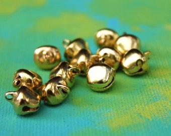24 Lg Gold Gypsy Bells Set - large 10mm Brass Jingle Bells