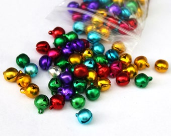 24 Lg Rainbow Jewel tone Gypsy Bells - large 10mm Brass Jingle Bells