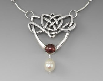 Celtic Dance Sterling Silver Necklace with Garnet,White Freshwater Pearl