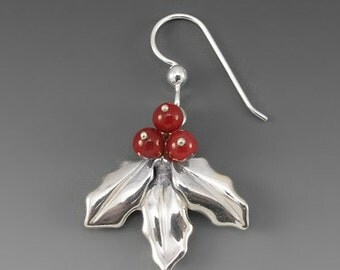 Holly Sterling Silver Earrings with Carnelian