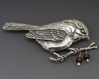 Chickadee Sterling Silver Pin/Brooch, Garnets or Red Jade