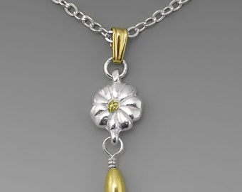 Forget-Me-Not Sterling Silver Pendant with Alaska Gold Nugget