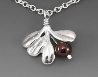 Lowbush Cranberry Pendant Sterling Silver Necklace, Garnet