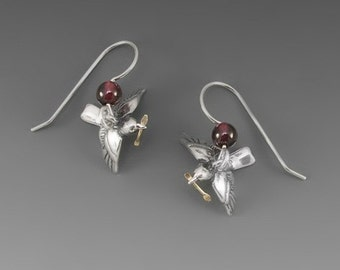 Nesting Chickadees Sterling Silver Earrings with Garnets or Red Jade
