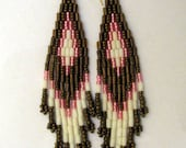 Stacked Seed Bead & Bugle Bead Earrings