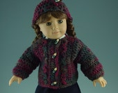 Item 14 -  American Girl Doll Hat and Sweater in Maroon and Gray