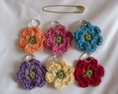 Six Crocheted Stitch Markers/ Knitting Stitch Markers/ Flower Stitch Markers