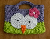 Crocheted Owl Purse/ Purple and Lime Green/ Childs Crochet Owl Purse