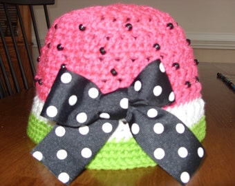 Crocheted Watermelon Hat size 12 month to 4 years