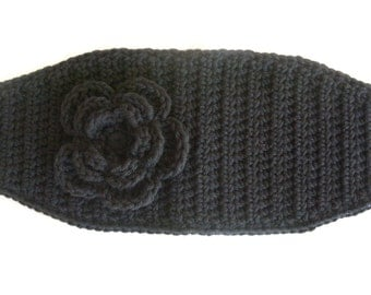 Crochet Head Wrap/ Ear Warmer/ Black