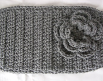 Crochet Head Wrap/ Ear Warmer/ True Gray