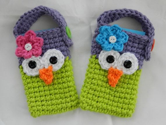 Crocheted Owl Cell Phone/ IPhone / Small Gadget Cozy/ Purple and Lime Green