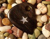 Ebony Superstar wooden Guitar Pick inlayed with a Mother of pearl Star
