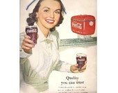 COCA COLA Ad LOOK Mag back cover 1952 Nurse w/Coke
