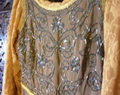 Olive Green and Golden Orange Mideval Arwen Style Dress