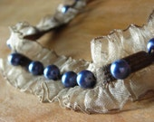 Feminine Soft Brown and Blue Pearl Choker