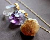 Raw Crystal Quartz Point Trio, Purple Amethyst, Yellow Citrine and Clear Quartz on 12kt Goldfill Fine Rope Chain Necklace