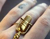 Microphone Check Statement Ring in Raw Brass, Custom Size