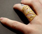 The Original Filigree Leaf Wrap Ring in Gold - Pick Your Color and Pick Your Size