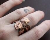 Large Oak Leaf Wrap Statement Ring in Copper Brass, Custom Size