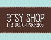 Etsy Premade Banner Avatar - Etsy Shop Package Set - Diamond Style Design - Blue Brown Plaid
