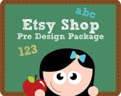 Etsy Shop Banner and Avatar Package - Premade Etsy Shop Set - Etsy Premade Design Package - Chalk Board of Ideas Design