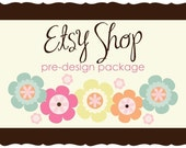 Premade Etsy Shop Banner Avatar Set - Etsy Design Package and Business Card - Colorful Blossom Flowers Design
