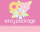 Etsy Banner Avatar Shop Package - Premade Design Store - Scrapbook Flowers and Buttons