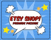 Super Hero Banner - Etsy Shop Banner Avatar Set - Premade Design Package - Pop Art Superhero Cape Bubble Fun Design