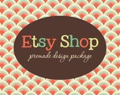 Etsy Banner Avatar Shop Set - Etsy Premade Design Package - Pattern Circle Fabric