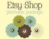 Premade Etsy Shop Banner Avatar Set - Etsy Premade Store Design Package - Simply Flowers Design