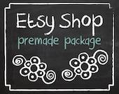 """Etsy Shop Banner - Etsy Banner - Chalkboard Etsy Banner - Premade Design Package - Etsy Shop Set - Black Chalk Board """"Flower Chalks Design"""""""