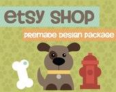 """Etsy Banner Avatar Shop Set - Etsy Premade Design Package - Dog Pets Banner """"Puppy Love Design"""""""