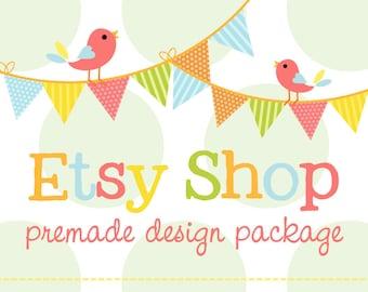 Etsy Shop Banner, Etsy Shop Set, Etsy Cover Shop Icon, Birds Pennant Banner, Polka Dot and Birds, Premade Logo Design Package, Branding