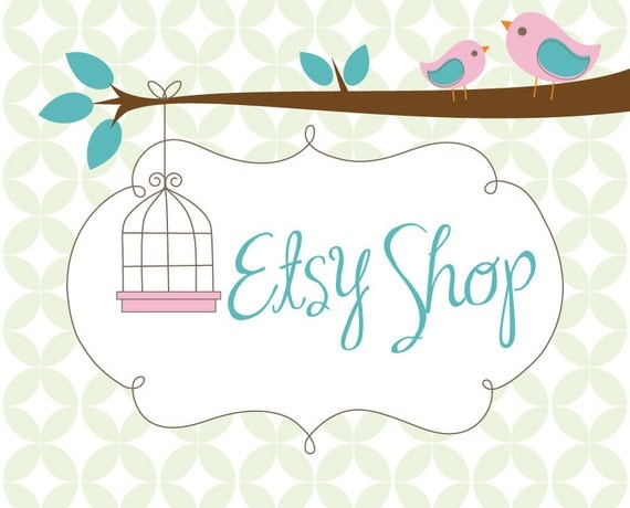 Etsy Banner Avatar Premade Shop Set - Etsy Shop Design Package - Birds and Cages Design