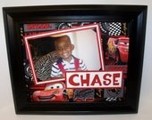 Disney Cars - Lightning McQueen Picture Mat - Personalized - Unframed Insert for 8x10 frame - You Choose Background Design