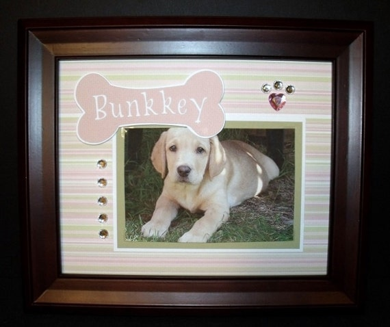 Personalized Dog Picture Frame - 8x10 -  Dog Bone Theme - Cat Frames Available Too - Other Color Schemes Upon Request