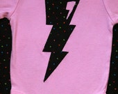 80s Retro Lightning Bolt Neon Colors on Pink Infant Bodysuit