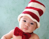 Top Hat and Bow, Dr Seuss Inspired Hat, Stripe Hat, Photo Prop