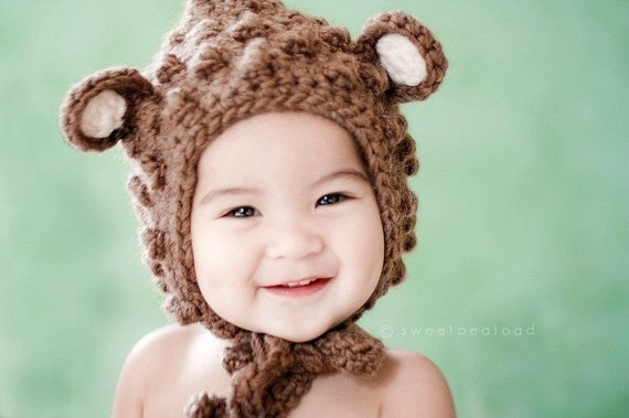 Bear Hat, Hat with Ears, Photo Prop Hat, Winter Hat