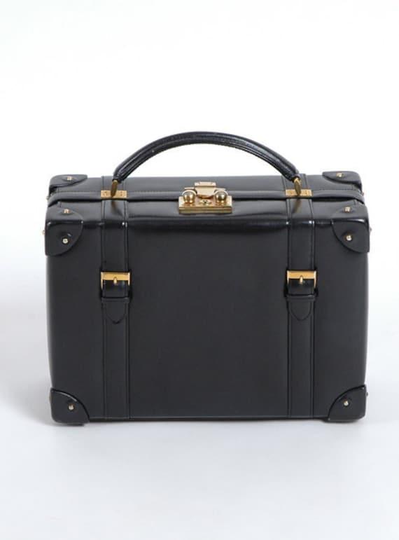 Wonderful 1950's Vintage Nettie Rosenstein Black Leather Box Purse, Luggage-Inspired, brass buckles and straps, Designer, Couture
