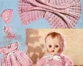Vintage knitting pattern for baby dolls/ reborn layette Bestway B2499