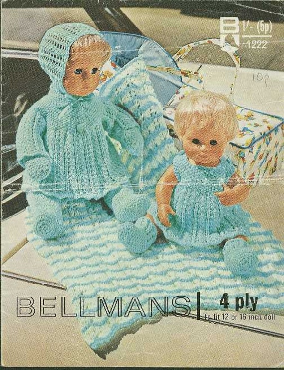 Vintage knitting pattern for dolls outfits 12 - 16in. Bellmans 1222