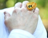 yellow paper poppy ring - paper flower accessories for everyday or special event
