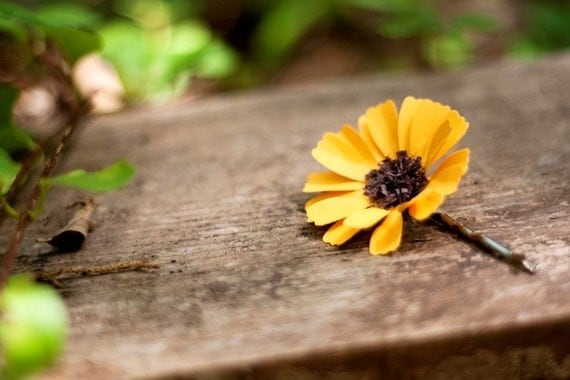 sunflower hair pin - paper flower accessories for everyday or special event