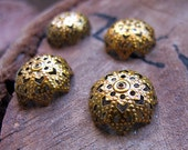 15mm Filigree Bead Caps, Gold Enamel Flower Bead Caps. Antique Bronze Bead Caps. Handmade Supplies