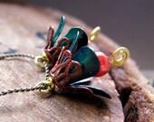 Vintage Style Flower Bead Dangles, Enamel Earrings Supplies. Green Red Hand Painted bell dangles