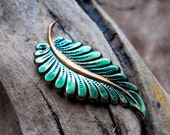 Green Enamel Leaf Pendant. Thin Carved Leaf for Pendants, Dangles. Handmade Jewelry Supplies - Leaves Charms - Petal Pendant
